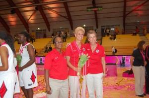 Monarch head girls' basketball coach Gail Hook poses with other coaches of the U-19 women's national team after winning the World Championships in Italy this summer.