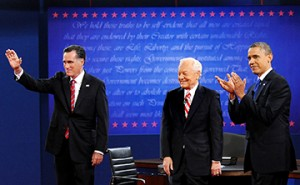 President Barack Obama, right, and Republican presidential candidate Mitt Romney, left, debated at Lynn University in Boca Raton, Florida on Monday, October 22, 2012. Bob Schieffer is the moderator.