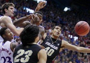 Kansas's Ben McLemore, Jeff Withey and Elijah Johnson battle Colorado's Sabatino Chen (23) and Josh Scott for a rebound during the first half of a men's college basketball game at Allen Fieldhouse on Saturday, December 8, 2012, in Lawrence, Kansas