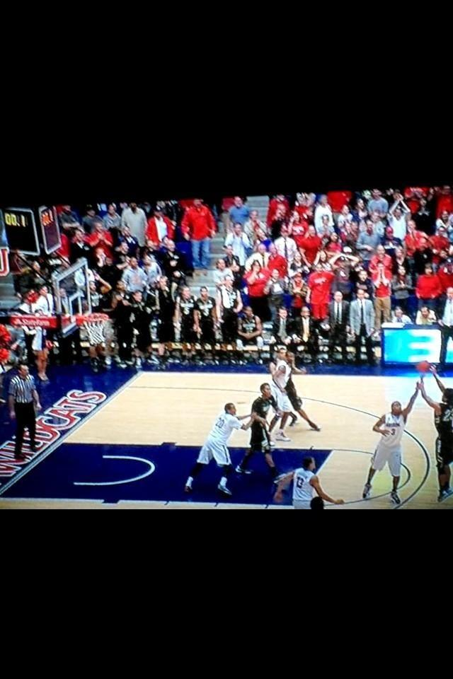 This is the freeze-frame featured on ESPN's SportsCenter of Monarch Alum Sabatino Chen's shot against the Arizona Wildcats at the end of the game Thursday. The would-be game-winner did not count after the referees reviewed the instant replay. It is still impossible to definitively tell whether or not the ball left Chen's fingers before the clock hit zero, but the TV show's hosts agreed that it did.