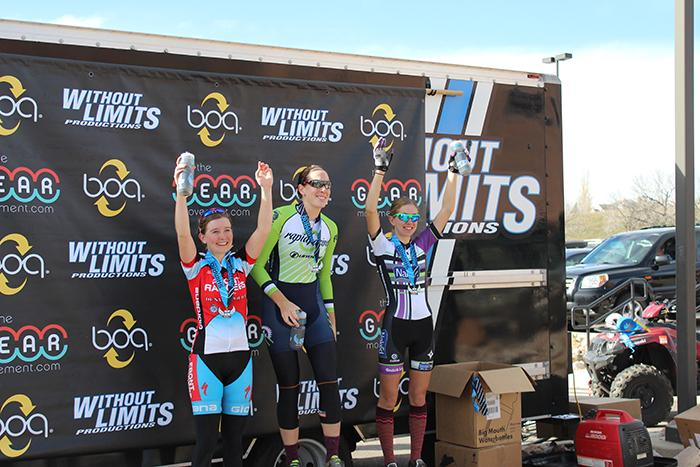 Savannah+Adams%2C+Errin+Vito%2C+and+Jenny+Lucke+receive+their+medals+for+placing+in+tier+Cyclo+X+race.+