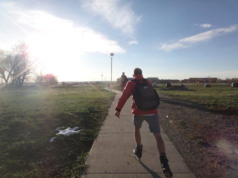 Senior Conner Lund roller blades to school and helps to decrease the amount of cars in Monarch's parking lot.