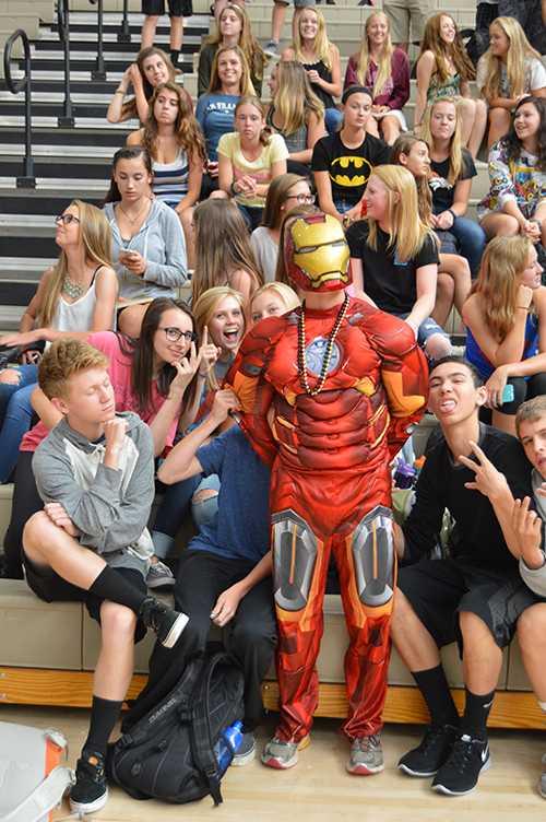 Sophomore+Greg+Hibl+dresses+as+Ironman+for+Superhero+Monday.
