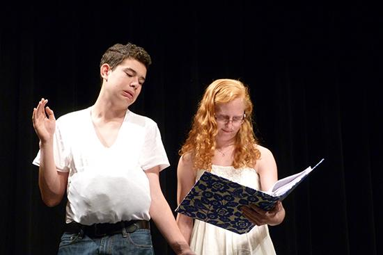 Jack Vander Veer and Hannah Hacker rehearse for the musical Balloon Boy, premiering at Monarch on November 6.