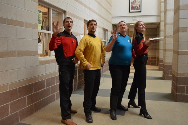 Social+studies+teachers+Matt+DiCarlo%2C+James+Kelpy%2C+Deann+Bucher%2C+and+Kristen+Kerr+Gannon+gaze+off+into+the+%22final+frontier%22+while+dressed+as+Star+Trek+characters+and+accompanied+by+their+trusty+Star-ship+Enterprise.+