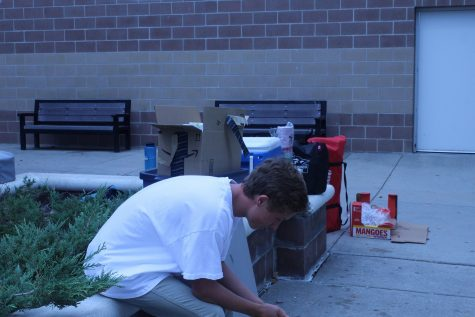 Grill Club Secretary, Greg Hibl, sits with his head low after discovering the Grill club had been suspended. The senior was planning to grill for the lunch period.