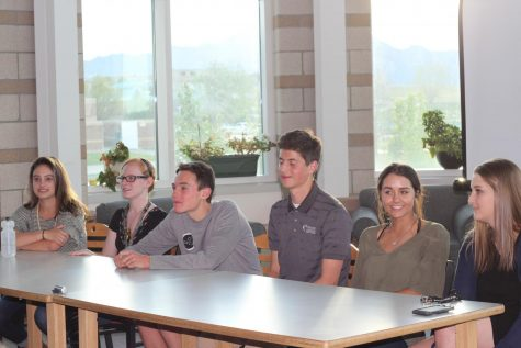 Seniors Sam Wexler, Hannah Hacker, Marcus Casar, Carly Gallant, and Taylor Ficker give advice on finding a summer job at the April PTSO meeting.