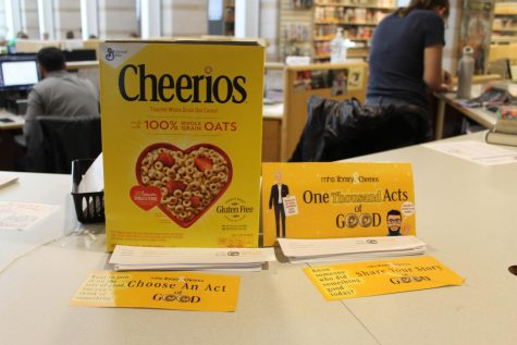 The library's cheerio box was filled with slips of paper nominating students for their