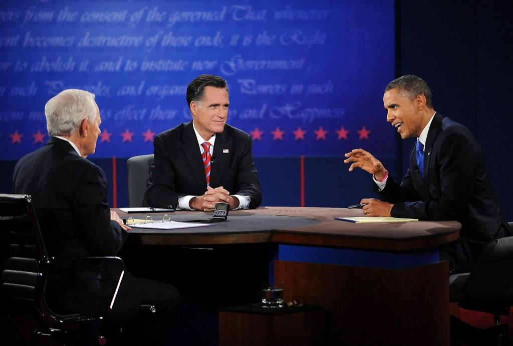 Republican presidential candidate Mitt Romney listens as President Barack Obama makes a point during the final presidential debate at Lynn University in Boca Raton, Florida on Monday, October 22, 2012. Bob Schieffer was the moderator.