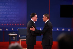 President Barack Obama, right, and Republican presidential nominee Mitt Romney shake hands at the start of their second presidential debate on October 16th. The candidates meet for a third and final debate on Monday, October 22nd at 7 pm MST at Lynn University in Boca Raton, Florida