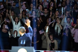 President Barack Obama waves to supporters at his election-night headquarters as he celebrates his re-election on Wednesday, November 7, 2012, in Chicago, Illinois.