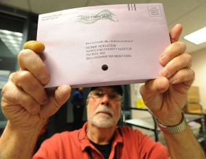 Election worker Richard Coit makes sure all ballots are removed from envelopes by looking through the hole in the middle of the envelopes at the Whatcom County Auditor's office on Election Day, Tuesday, November 6, 2012, in Bellingham, Washington.