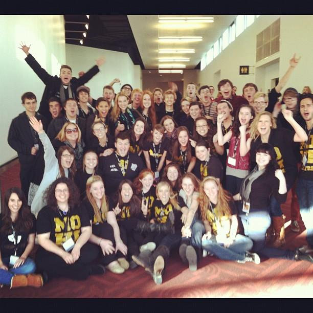 All 45 of the attending Monarch thespians gather on the final day of thespian conference.