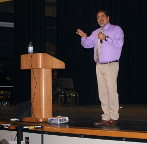 Ray Lozano speaks to an assortment of students and parents in the auditorium on January 22nd, 2014. Lozano is an acclaimed speaker that travels the country speaking on drug and alcohol use.