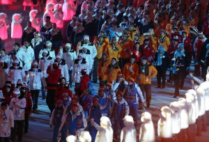 Athletes process out of the arena after the Opening Ceremony for the Winter Olympics at Fisht Olympic Stadium in Sochi, Russia, Friday, Feb. 7, 2014. (Brian Cassella/Chicago Tribune/MCT)