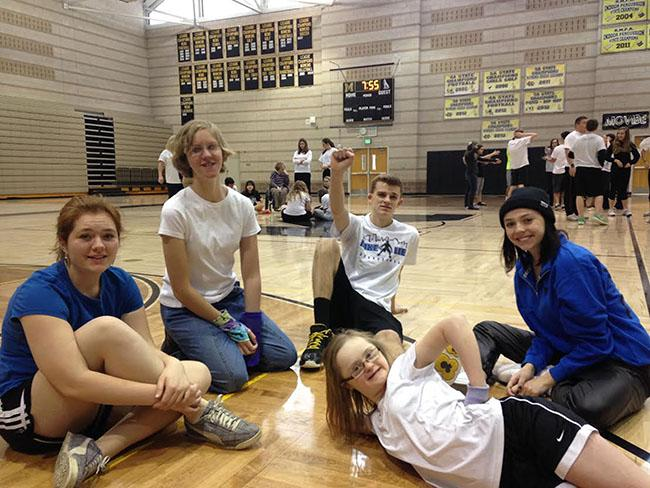 Sage Hundsdorfer, Caitlin Reilly, Mitchell Hill, Channing Jenkins, Hailey Bond enjoy a Friday morning in Adaptive PE.