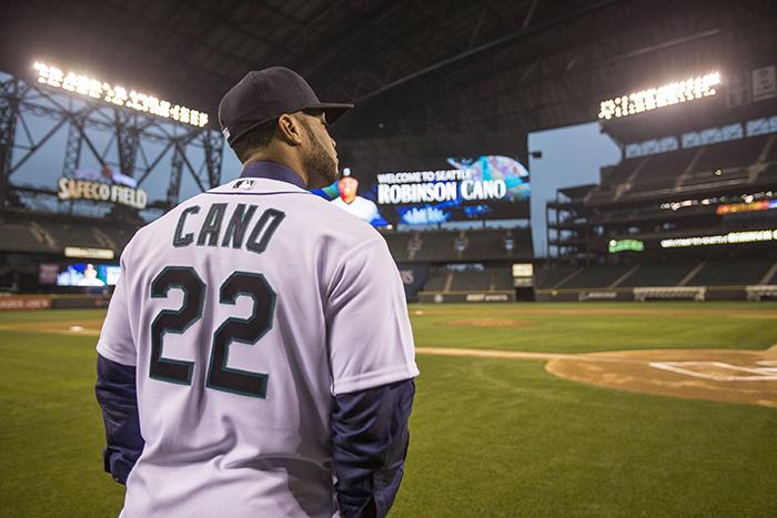 Robinson Cano, after being formally introduced by the Seattle Mariners during a news conference, visits Safeco Field in Seattle on Thursday, Dec. 12, 2013. Cano's 10-year, $240 million deal is the highest ever paid out by the team for a player. (Dean Rutz/Seattle Times/MCT)
