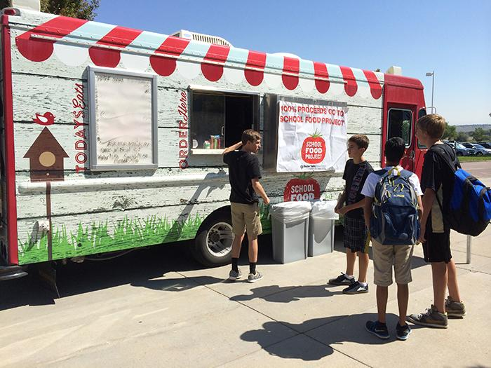 Students during second lunch wait at  the BVSD Food Truck on September 26, 2014 to get their food.