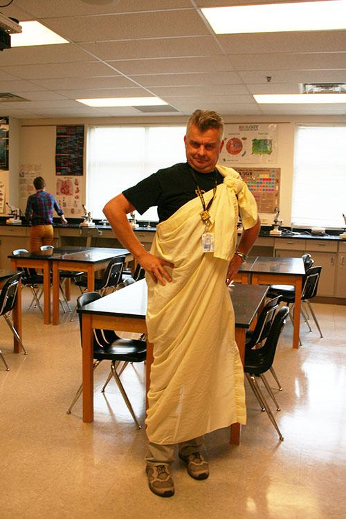 Even biology and anatomy teacher, Lazlo Vass, gets into the spirit of Toga Tuesday.