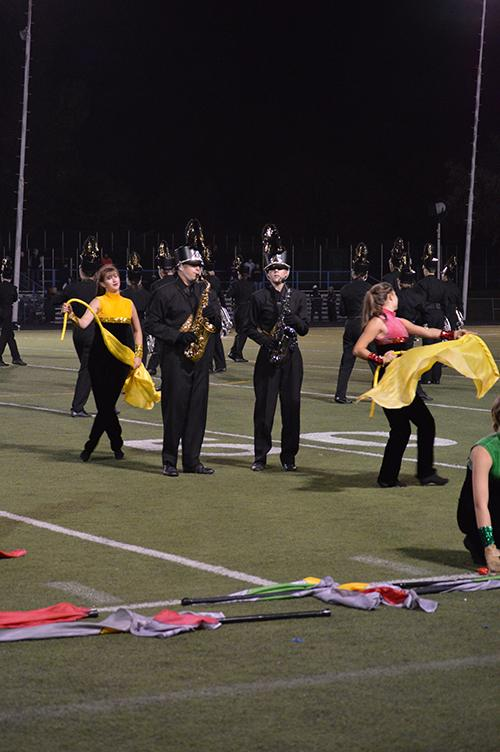 Matthew+Bertelson+and+Paige+Smith+play+a+saxophone+solo+during+the+marching+band+show+at+the+football+game+against+Legacy.+Monarch%27s+marching+band+recently+took+sixth+place+in+the+4a+state+competition.+