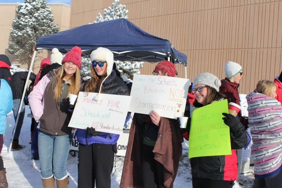 Out in the cold, students at Fairview High School protest the new CMAS test on November 13th and 14th. The students have put out a google document saying why they are out in the snow and why they opted out of the test. Only seven seniors at Fairview participated in the testing out of 538. Photo taken by Matt courtesy of The Royal Banner (Fairview High School).
