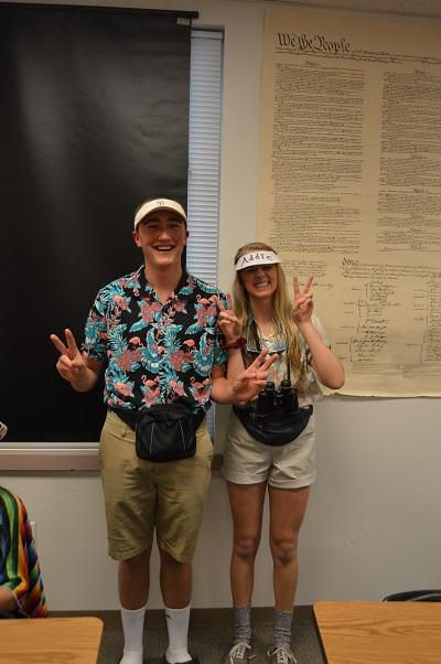 Mick Rapp and Addison Hobbs both wear their tourist outfits for Halloween.