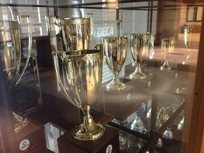 Trophies on  display in the front of Monarch