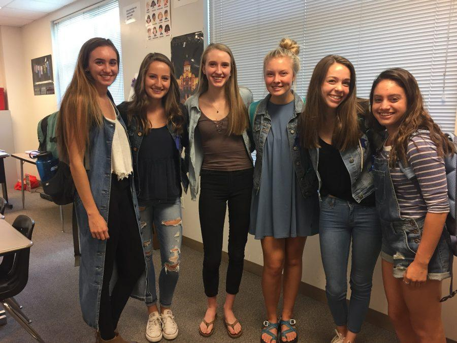 Seniors Allie Reuter, Olivia Parsons, Emma Dugan, and Sam Wexler and juniors Kami Terch and Grace Heilman show off their best denim on Denim Monday