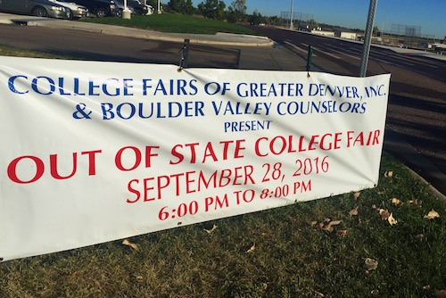 The word has been out! This sign announcing the out of state college fair has been in front of the school for a few weeks.