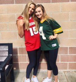 Seniors Maggie Valdez and Zoe Schmanski show their Wisconsin roots on Jersey Day