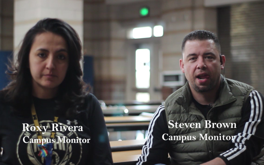 Pictured: Campus Monitors' Roxy Rivera and Steven Brown.