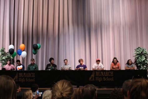 Several seniors signed with colleges across the country to continue their athletics. (from left to right) Sawyer Lofstedt, Tyler Seebaum, Connor Flynn, Isaac Green, Cayce Reese, Greg Hibl, Zach Litoff, Audrey Lookner, and Tatiana Cherry Santos