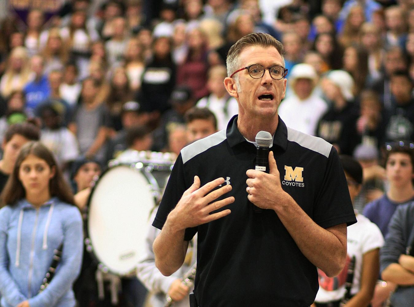 Principal+Neil+Anderson+addresses+students+during+the+Homecoming+pep+assembly+on+Sept.+8+about+the+reasoning+behind+safety+changes+at+football+games.%0A